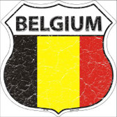 Belgium Country Flag Highway Shield Metal Sign