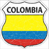 Colombia Country Flag Highway Shield Metal Sign