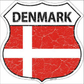Denmark Country Flag Highway Shield Metal Sign