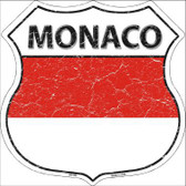 Monaco Country Flag Highway Shield Metal Sign