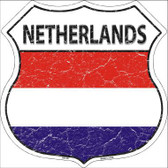 Netherlands Country Flag Highway Shield Metal Sign