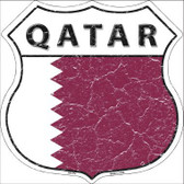 Qatar Country Flag Highway Shield Metal Sign