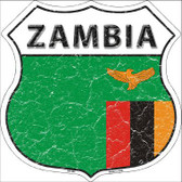 Zambia Country Flag Highway Shield Metal Sign