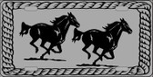Two Running Horses Novelty Metal License Plate