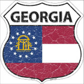 Georgia State Flag Highway Shield Metal Sign