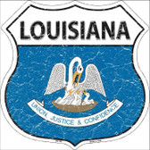 Louisiana State Flag Highway Shield Metal Sign