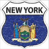 New York State Flag Highway Shield Metal Sign