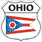 Ohio State Flag Highway Shield Metal Sign