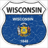 Wisconsin State Flag Highway Shield Metal Sign