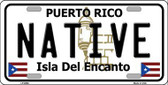 Native Puerto Rico Metal Novelty License Plate LP-6866