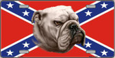 Confederate Flag Bulldog Metal Novelty License Plate