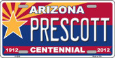 Arizona Centennial Prescott Novelty Metal License Plate LP-6808