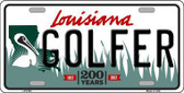 Golfer Louisiana Novelty Metal License Plate