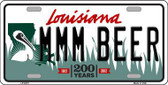 MMM Beer Louisiana Novelty Metal License Plate