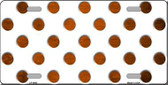 Orange White Dots Oil Rubbed Metal Novelty License Plate
