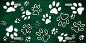 Green White Paw Print Oil Rubbed Metal Novelty License Plate