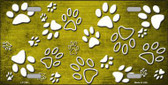 Yellow White Paw Print Oil Rubbed Metal Novelty License Plate