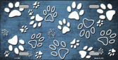 Light Blue White Paw Print Oil Rubbed Metal Novelty License Plate