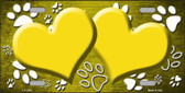 Paw Print Heart Yellow White Metal Novelty License Plate