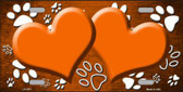 Paw Print Heart Orange White Metal Novelty License Plate