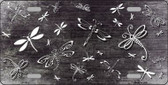 Black White Dragonfly Print Oil Rubbed Metal Novelty License Plate