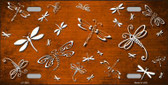 Orange White Dragonfly Print Oil Rubbed Metal Novelty License Plate