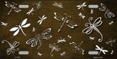 Brown White Dragonfly Print Oil Rubbed Metal Novelty License Plate