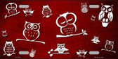 Red White Owl Print Oil Rubbed Metal Novelty License Plate
