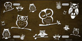 Brown White Owl Print Oil Rubbed Metal Novelty License Plate