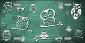 Mint White Owl Print Oil Rubbed Metal Novelty License Plate