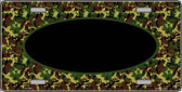 Pattern Green Camo Oval With Black Center Metal Novelty License Plate
