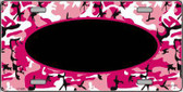 Pattern Pink Camo Pattern With Black Center Oval Metal Novelty License Plate