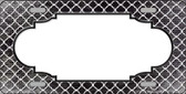 Black White Quatrefoil Scallop Print Oil Rubbed Metal Novelty License Plate