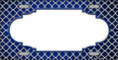 Blue White Quatrefoil Scallop Print Oil Rubbed Metal Novelty License Plate