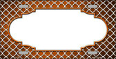 Orange White Quatrefoil Scallop Print Oil Rubbed Metal Novelty License Plate