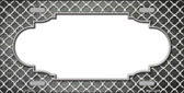 Gray White Quatrefoil Scallop Print Oil Rubbed Metal Novelty License Plate