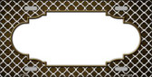 Brown White Quatrefoil Scallop Print Oil Rubbed Metal Novelty License Plate
