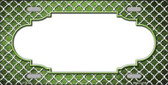Lime Green White Quatrefoil Scallop Print Oil Rubbed Metal Novelty License Plate