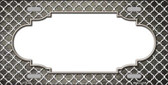 Tan White Quatrefoil Scallop Print Oil Rubbed Metal Novelty License Plate