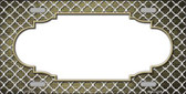 Gold White Quatrefoil Scallop Print Oil Rubbed Metal Novelty License Plate