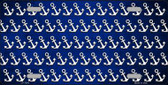 Blue White Anchor Print Oil Rubbed Metal Novelty License Plate