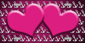 Pink White Anchor Hearts Print Oil Rubbed Metal Novelty License Plate
