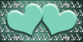 Mint White Anchor Hearts Print Oil Rubbed Metal Novelty License Plate