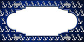 Blue White Anchor Scallop Print Oil Rubbed Metal Novelty License Plate