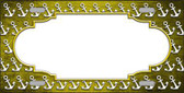 Yellow White Anchor Scallop Print Oil Rubbed Metal Novelty License Plate