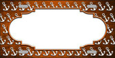Orange White Anchor Scallop Print Oil Rubbed Metal Novelty License Plate