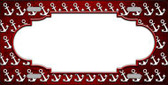 Red White Anchor Scallop Print Oil Rubbed Metal Novelty License Plate