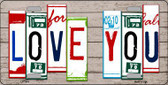 Love You License Plate Art Wood Pattern Metal Novelty License Plate
