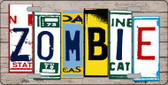 Zombie License Plate Art Wood Pattern Metal Novelty License Plate