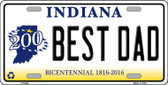 Best Dad Indiana Novelty Metal License Plate